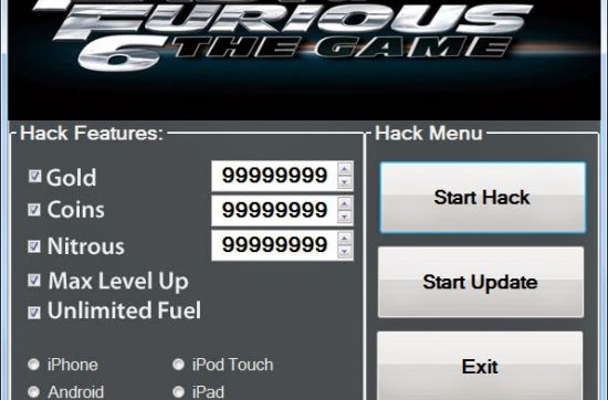 Fast and Furious 6 Hack Tool generate Gold, Coins, Nitrous, Max Level Up